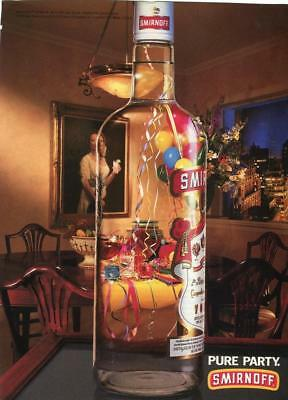 "1994 Smirnoff Vodka Print Ad- ""pure Party"" Party In Bottle Scene Bar Decor"