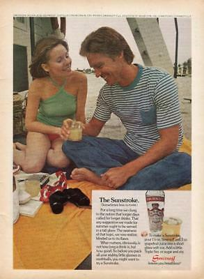 1974 Smirnoff Vodka Print Ad The Sunstroke Recipe-Couple On Deck Of A Ship