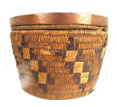 ANTIQUE NATIVE AMERICAN INDIAN WOVEN WEAVE BASKET b