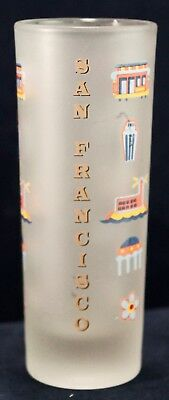 "Shot Glass San Francisco Frosted Tall 4.25"" Barware Souvenir Collection"