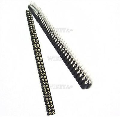 2Pcs 40Pin Round Female Gold Plated 2.54MM Pin Header Double Row Machined Ic ri