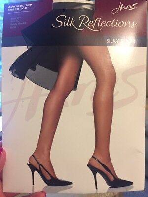 b856aad3c61cd Hanes Silk Reflections Silky Sheer Sandalfoot Pantyhose 717 Barely Black  Size AB