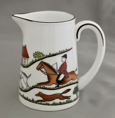 Hunting Scene by Crown Staffordshire Mini Creamer 6oz  w/Horses MINT