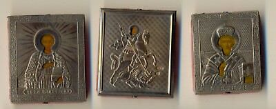 Russian  Imperial Antique travel  Icons (3) sterling silver   (#1052b)