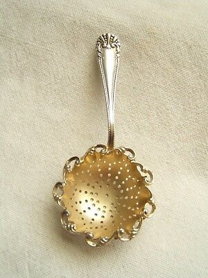Beautiful Antique Sterling Silver Tea Strainer Lace Border Gold Wash Bowl