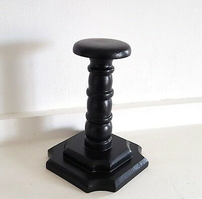 Black wood hat stand Wooden hat rack Millinery Antique style