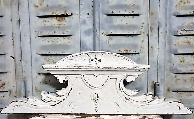 Shabby Painted Scroll Leav Pediment Antique French Carved Wood Salvaged Paneling
