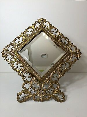 Large Antique Victorian Diamond Shape Cast Iron Rococco Easel Back Frame Mirror