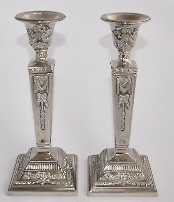 Pair of Vintage Silver Plated Regency Style Candle Stick Holders - 24.7cm