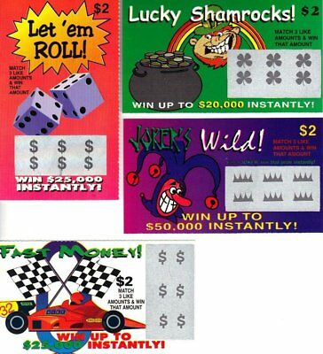 4 Fake Lottery Tickets Fake Phony Scratch Off Winning Lotto Ticket Fun Gag Joke