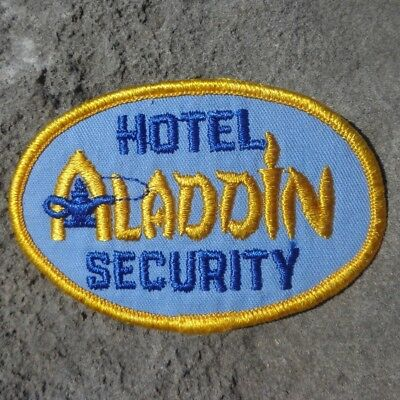 "Hotel Aladdin Security 3.5"" x 2.5"" Las Vegas Nevada Hotel Casino Patch Blue"