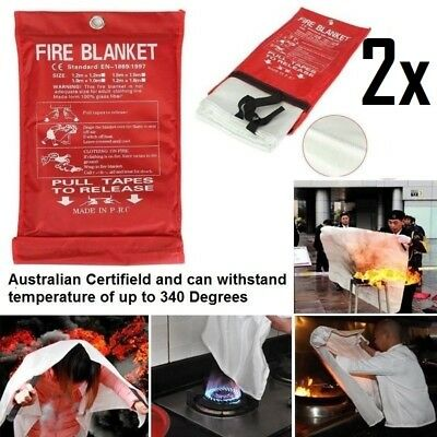 2x AU FIRE BLANKET 1 X 1 M Australian Certified up to 340 Degrees