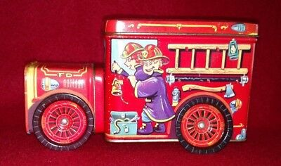 Red Tin Bank Fire Truck Engine VINTAGE