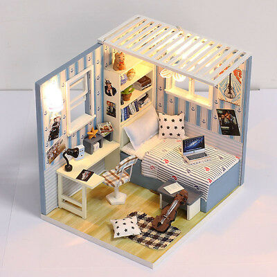 DIY 3D House Mini Wooden Dollhouse Furniture Kit Creative Gifts Collection E