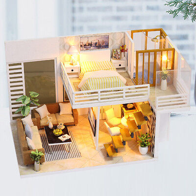 Mini DIY Musical Dollhouse Miniature Doll House Furniture Kit w/ LED Light A