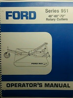 Ford 951 3-Point Hitch Brush Field Mower Owner, Parts & Service Manual Tractor
