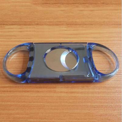Stainless Steel Double BladeS Cohiba blue Plastic Handle Cigar Cutter Scissors