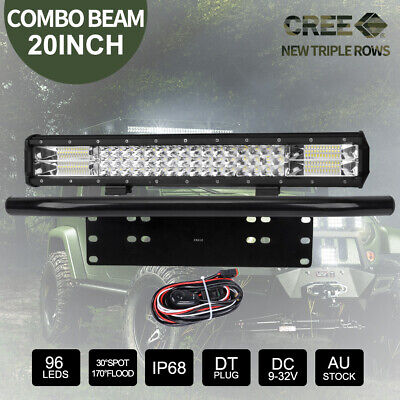 "20"" 224000LM CREE LED Light Bar + 23"" Black Number Plate Frame + Wiring Kit"