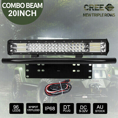 "20 inch 126000LM CREE LED Light Bar + 23"" Black Number Plate Frame Mount Bracket"