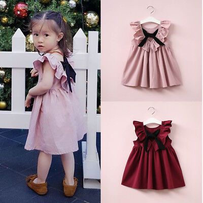 Toddler Kid Baby Girl Backless Bowknot Princess Casual Party Tutu Dress Sundress