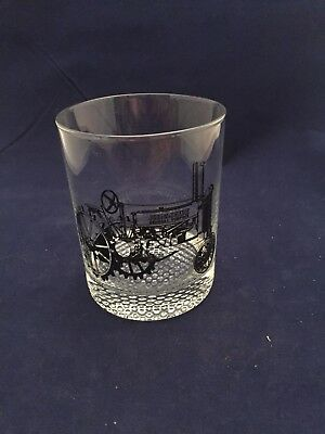 JOHN DEERE  HIGHBALL GLASS Clear with black outline of Tractor A 1934-1952