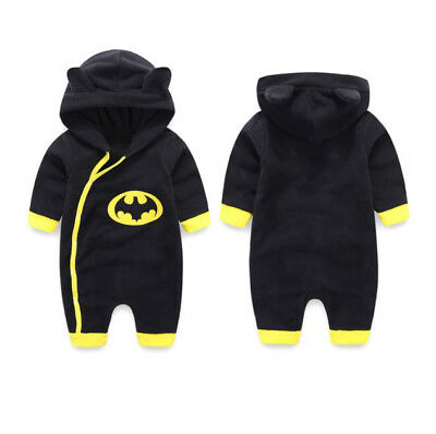 Kids Baby Boys Hooded Batman Romper Jumpsuit Bodysuit Warm Outfits Clothes 0-24M