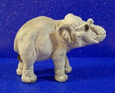Hand Painted Grey Resin Elephant Figurine - Excellent Condition!