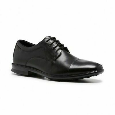 Mens Hush Puppies Cain Black Leather Lace Up Work Formal Tritech Men's Shoes