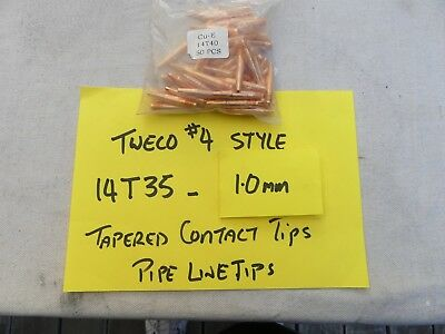 TWECO 4 Style  MIG  PIPELINE Contact Tips 1.0mm 14T40 50/pk