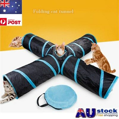 Pet Cat Kitten Puppy Tunnel Play Toy 4 WAY Foldable Exercise Tunnel Funny Toys