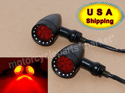 RED LED 3WIRES Bullet Turn Signal Stop Brake Running Tail Lights Motorcycle  USA