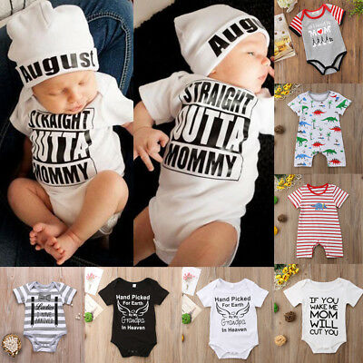 US Infant Toddler Kids Baby Boy Girl Romper Bodysuit Jumpsuit Clothes Outfits