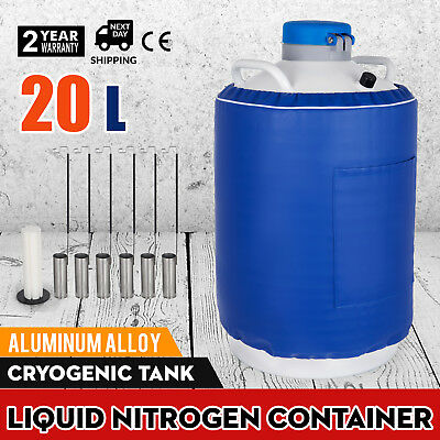 20 L Liquid Nitrogen Tank LN2 Dewar Cryogenic Container 6 Canisters U.S.Solid
