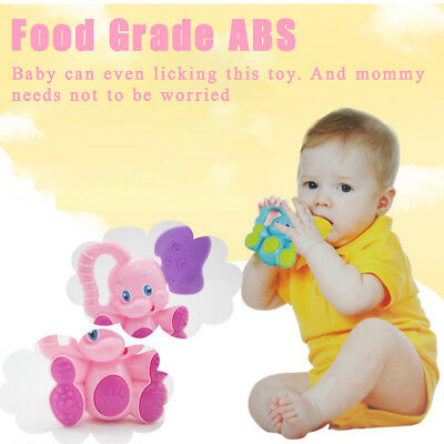 Funny Safety Baby Toddler Teether Hand Shake Bell Ring Educational Elephant Toy