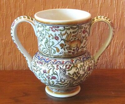 """Hand-painted Portuguese 6"""" Twin-handled Vase with Animals and Flowers."""
