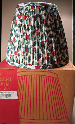 "Longaberger Pleated Fabric Lamp Shade Holly 7-1/2"" Size Made in USA Table Light"