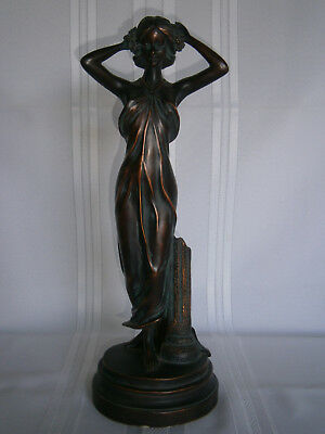 Tall Retro Vintage Deco Style Bronze Lady Resin Statue 1970-80's