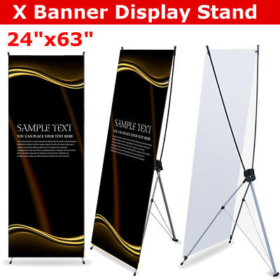24 x 63″ Black+Silvery Banner Display Stand Lightweight Stability Floor Standing