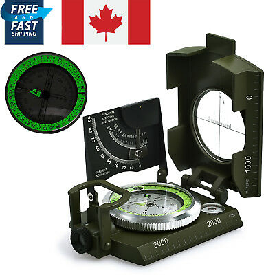 Military Army Compass Professional Clinometer Outdoor Camping Sighting Hiking CA