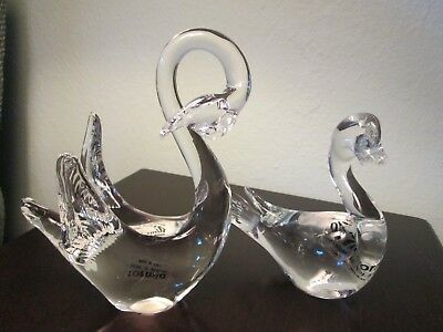 Vetro DI  Murano Italy Pair  Vintage Clear Glass Swans