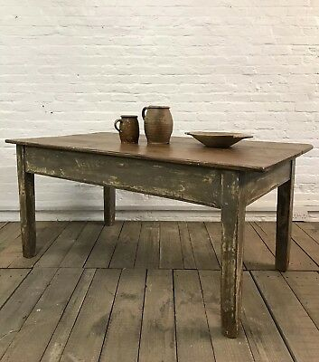 Stunnng Antique French Original Painted Kitchen Dining Table