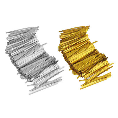 1600PCS Metallic Twist Tie With Bow Cello Candy Cookie Bag Lollipop Pack
