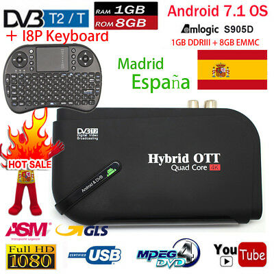 V8 Plus DVB-T2 Terrestrial Receiver Android 7.1 TV Box Amlogic S905D 1GB+8GB ES