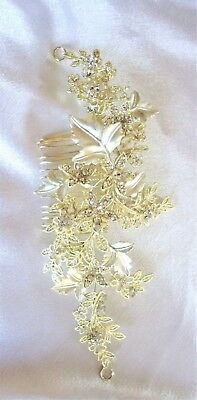Elegant Bridal Crystal Silver & Gold Salon Hair Comb pageant Forever a Bride