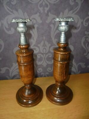 Arts And Crafts Beautiful Oak And Pewter Candlesticks Thistle Top Sconces