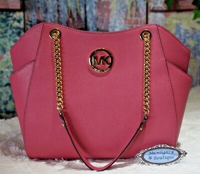 MICHAEL KORS JET SET TRAVEL LARGE Chain Shoulder TOTE In TULIP PINK Leather   378 -  168.95  b33c4d443fa79