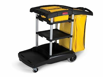 Rubbermaid High Capacity Cleaning Cart Black 5 CuFt Storage Space 9T72