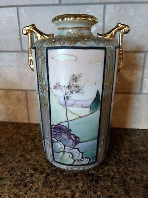 Antique Nippon Moriage Porcelain Beaded Scenic Dragonware Hand Painted Vase