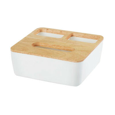 Square Home Room Hotel Tissue Box Wooden Cover Paper Napkin Holder Case 2