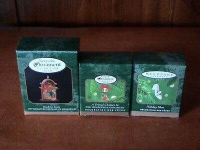 Hallmark ~ 3 miniatures ~ Holiday Shoe & Ready for Santa & A Friend Chimes In